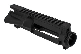 KAK Industry forged stripped AR-15 upper receiver without T-marks is hardcoat anodized black.
