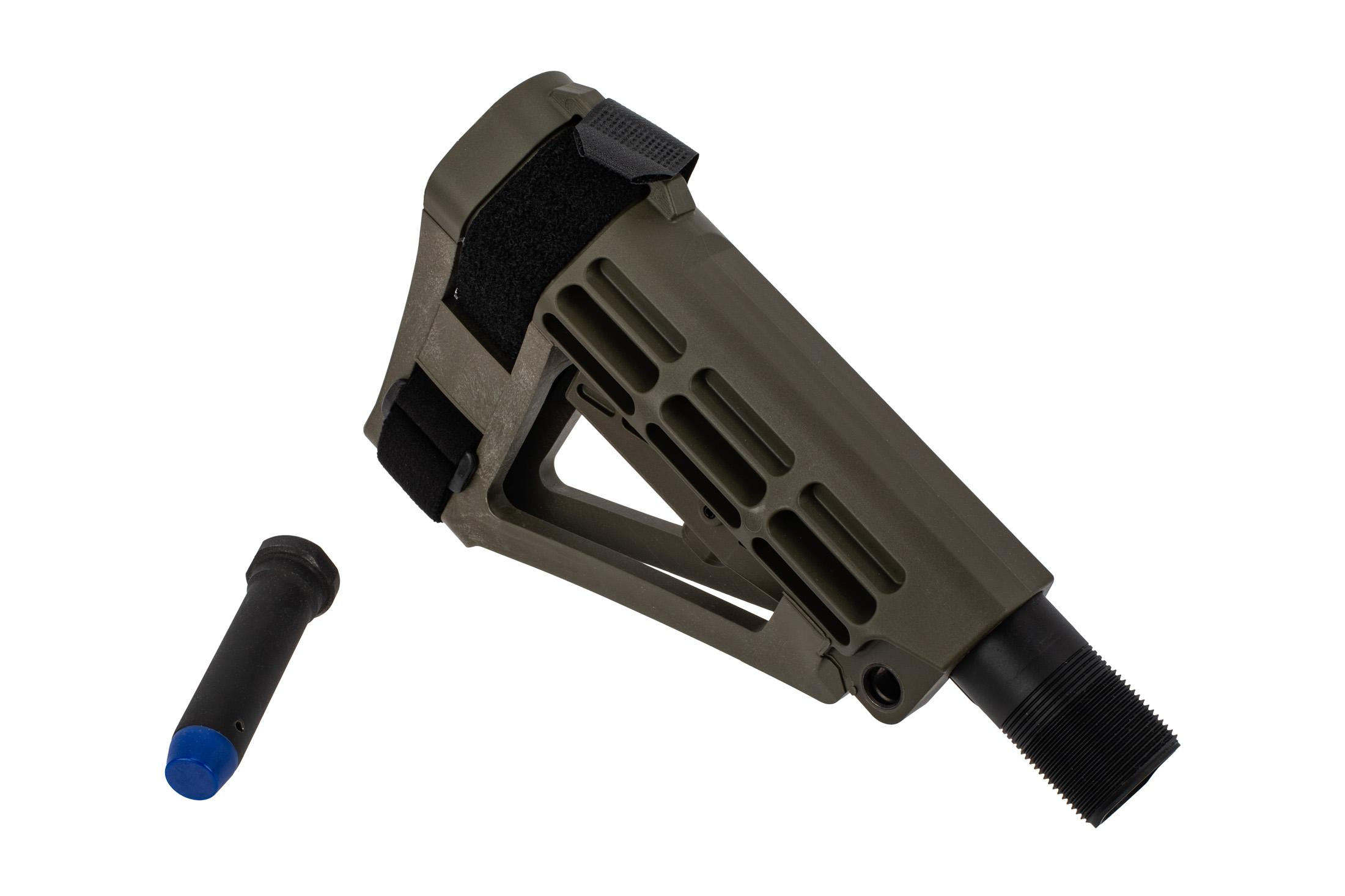 SB Tactical SBA4 Pistol Stabilizing Brace - OD Green with Expo Arms H1 AR-15 Carbine Buffer with Blue Bumper
