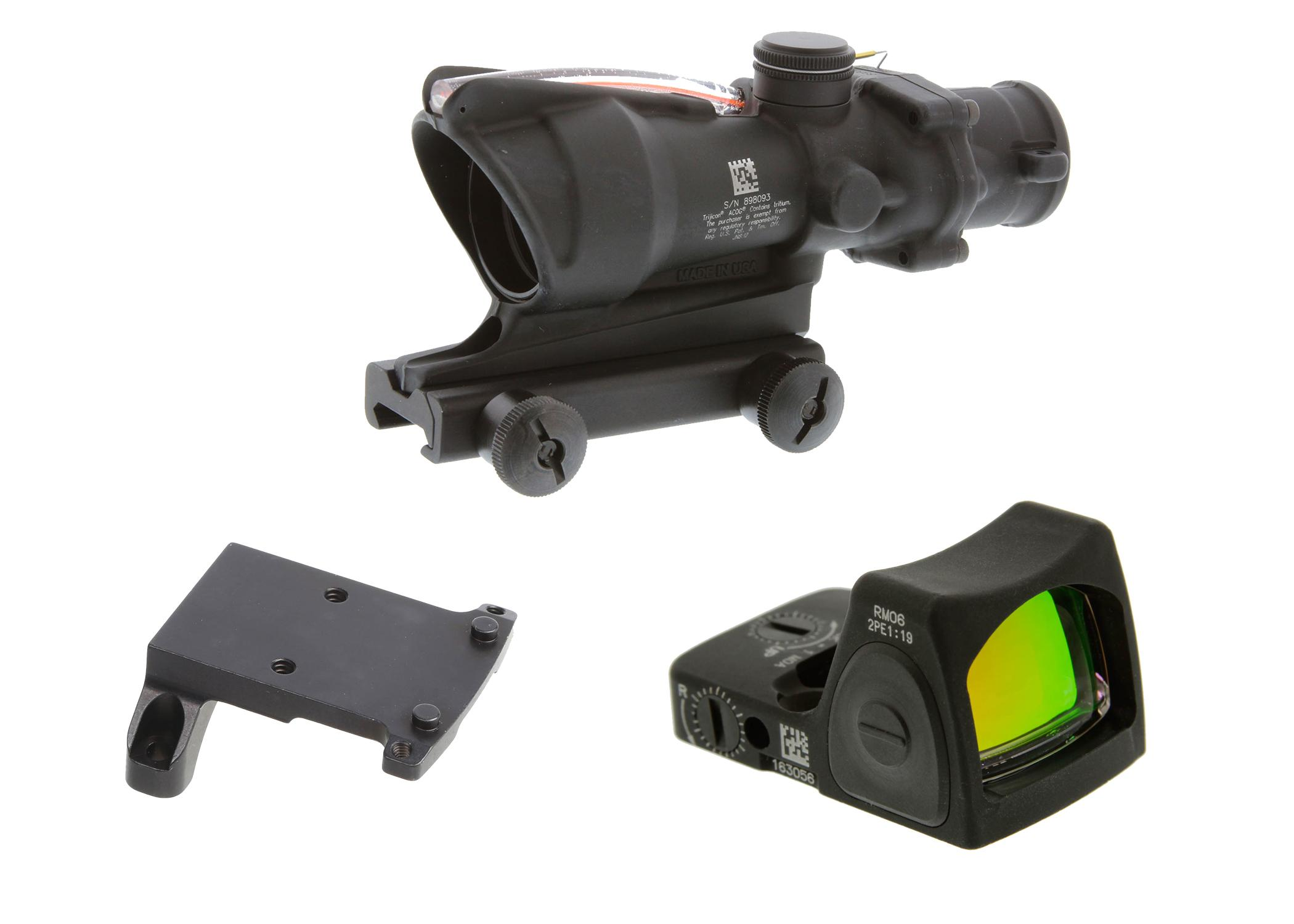 Trijicon ACOG 4x32 Scope with Red Dual Illumination ACSS Reticle with a Trijicon RMR Sight Adjustable (LED) - 3.25 MOA Red Dot and a Trijicon, Mount ACOG Adaptor Plate, For Red Dot Sights, Matte