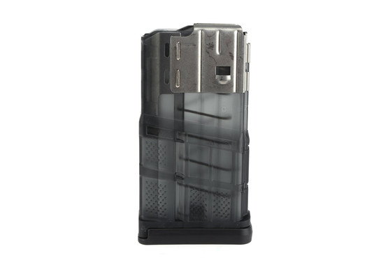 The Lancer Systems L7AWM 20 round .308 magazine features a translucent smoke finish