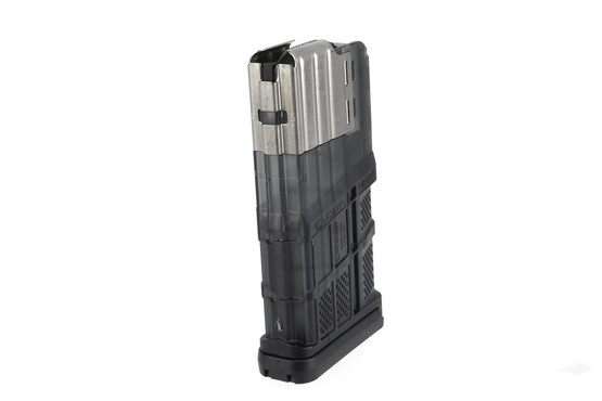 The Lancer L7 AWM 7.62 magazine holds 20 rounds in its textured polymer body