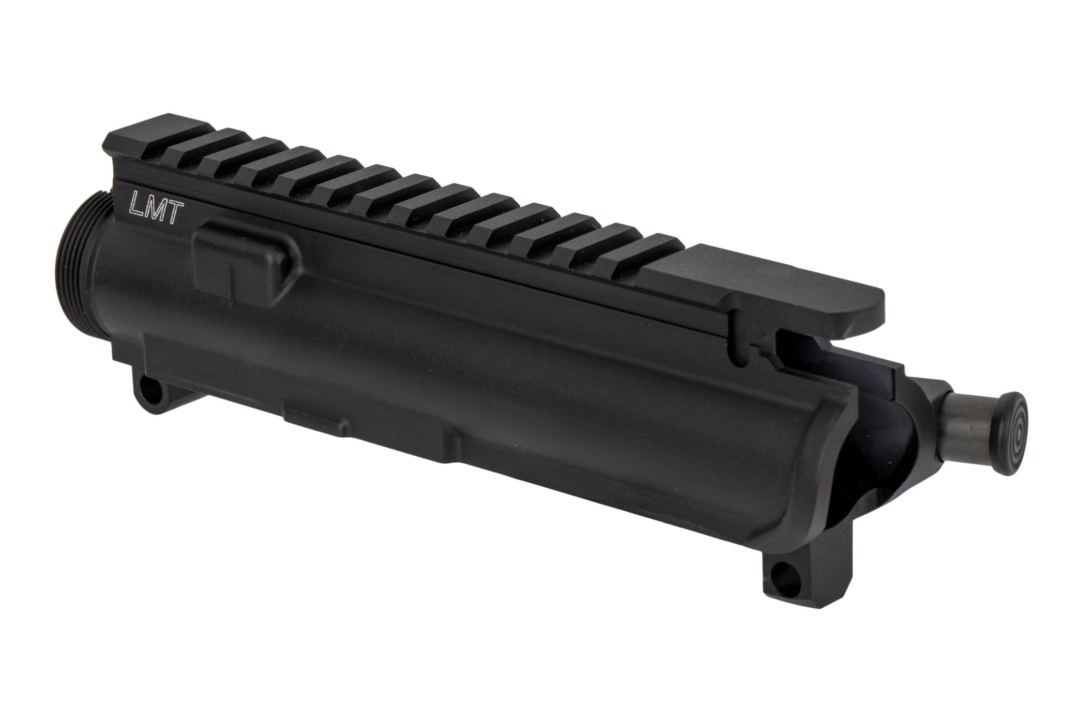The Lewis Machine and Tool AR-15 upper receiver features a hardcoat anodized finish