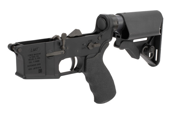 Lewis Machine and Tool Defender PDW complete AR15 lower receiver features the mini SOPMOD stock
