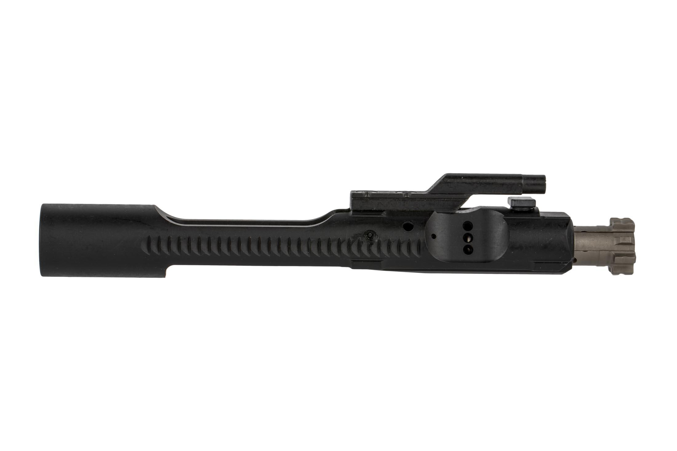 The LMT enhanced bolt carrier group features relief cuts to prevent dirt and debris from clogging the action