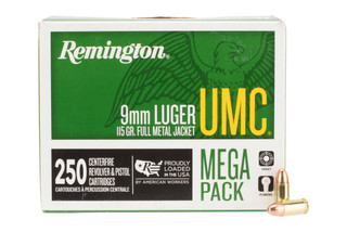 Remington Ammunition UMC 9mm Luger 115 gr Full Metal Jacket is boxer primed with brass casing