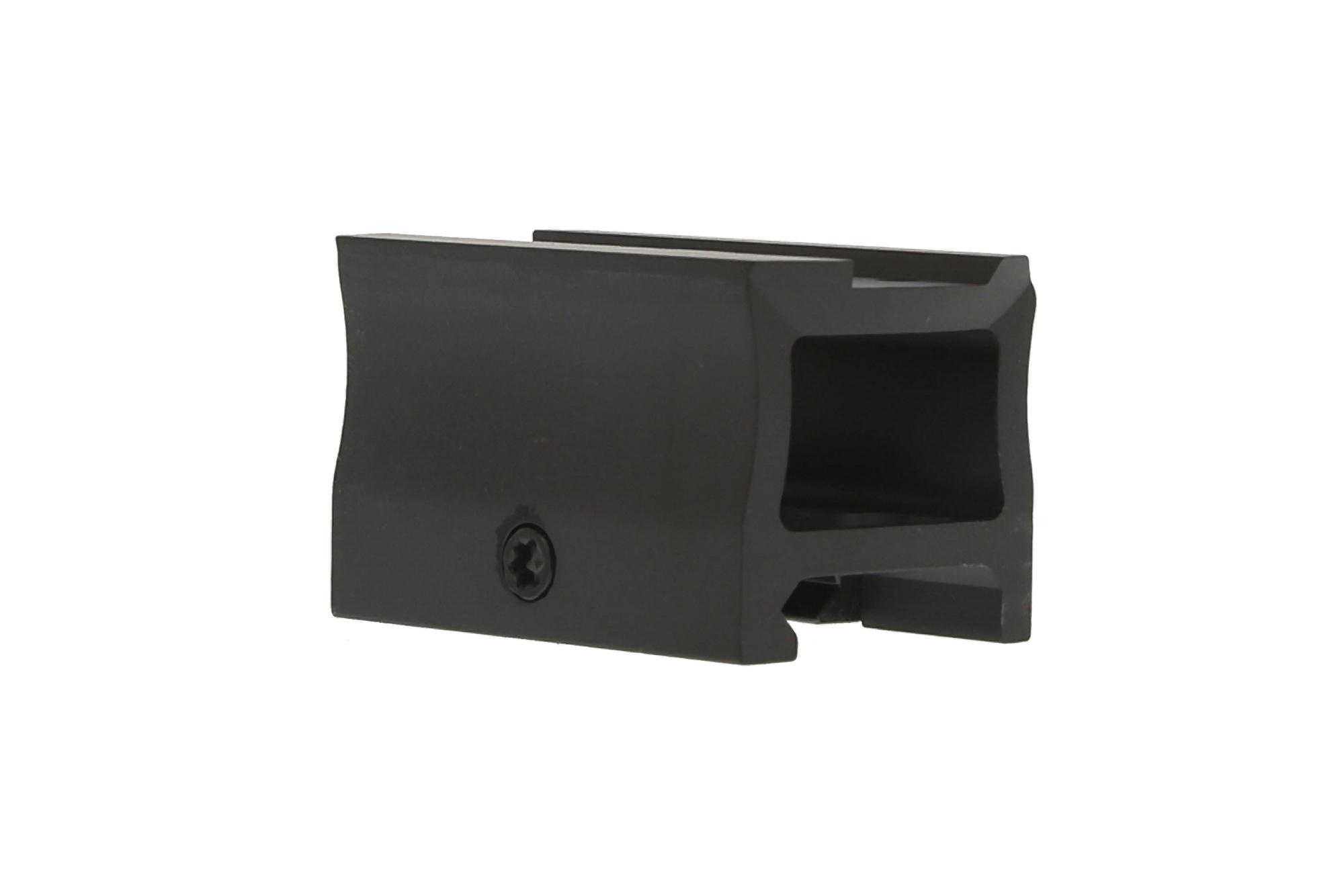 The Primary Arms absolute co-witness micro dot riser mount is constructed from a block of aluminum