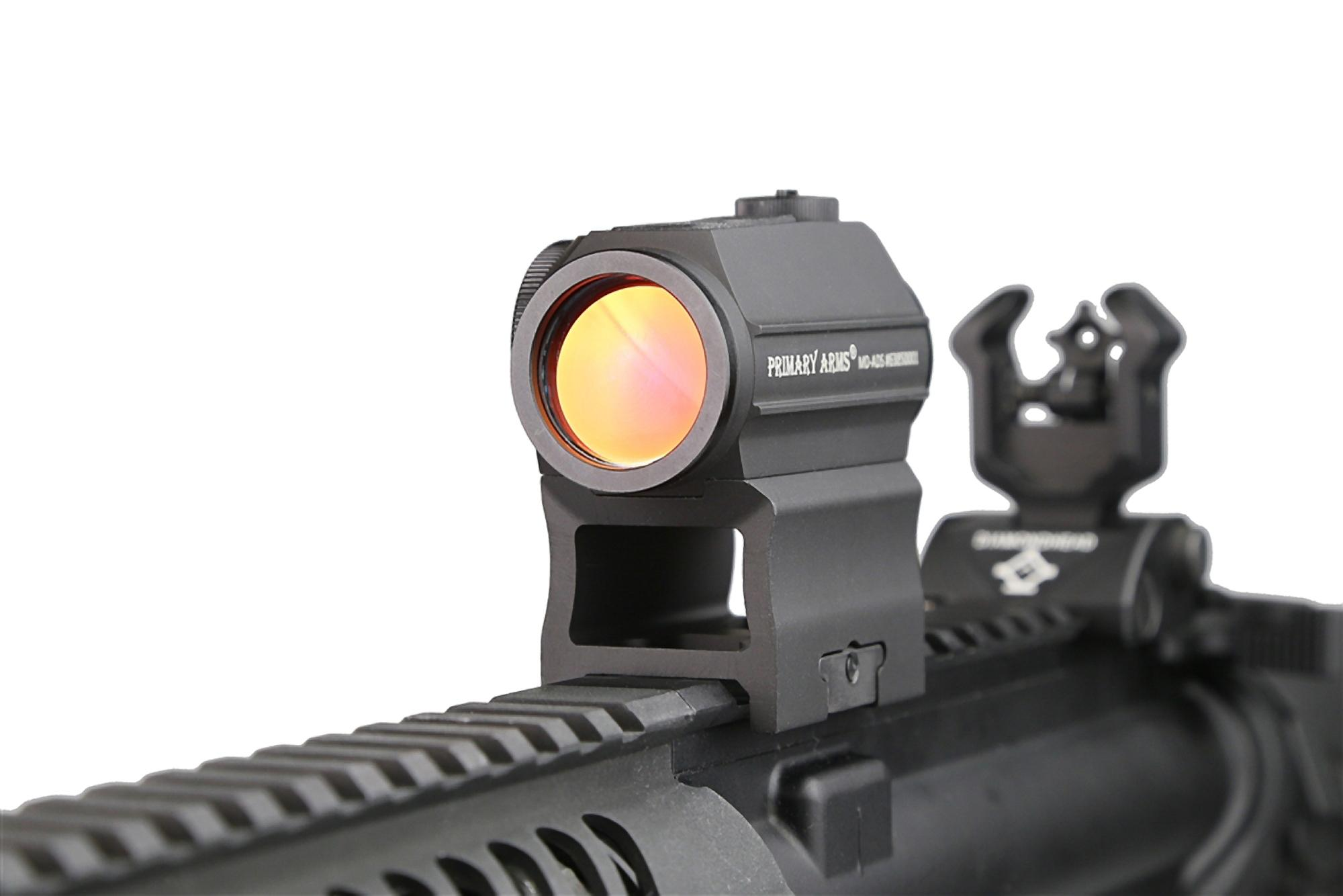 ThePrimary Arms absolute co witness red dot riser mount attached to an AR15