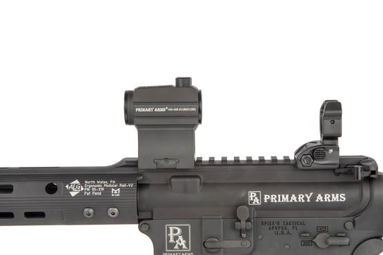 The Primary Arms 1/3 co witness red dot mount attached to an Ar-15