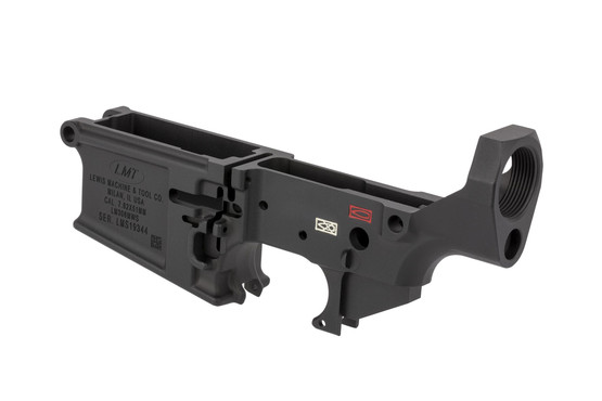 LMT MWS stripped AR-308 lower receiver features a stop for semi-only use