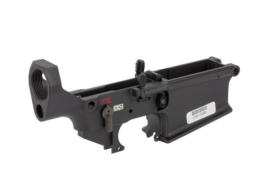 The Lewis Machine & Tool .308 lower receiver features color-filled selector markings