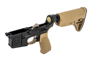 Bravo Company Manufacturing complete AR-15 lower receiver assembly with Flat Dark Earth furniture.