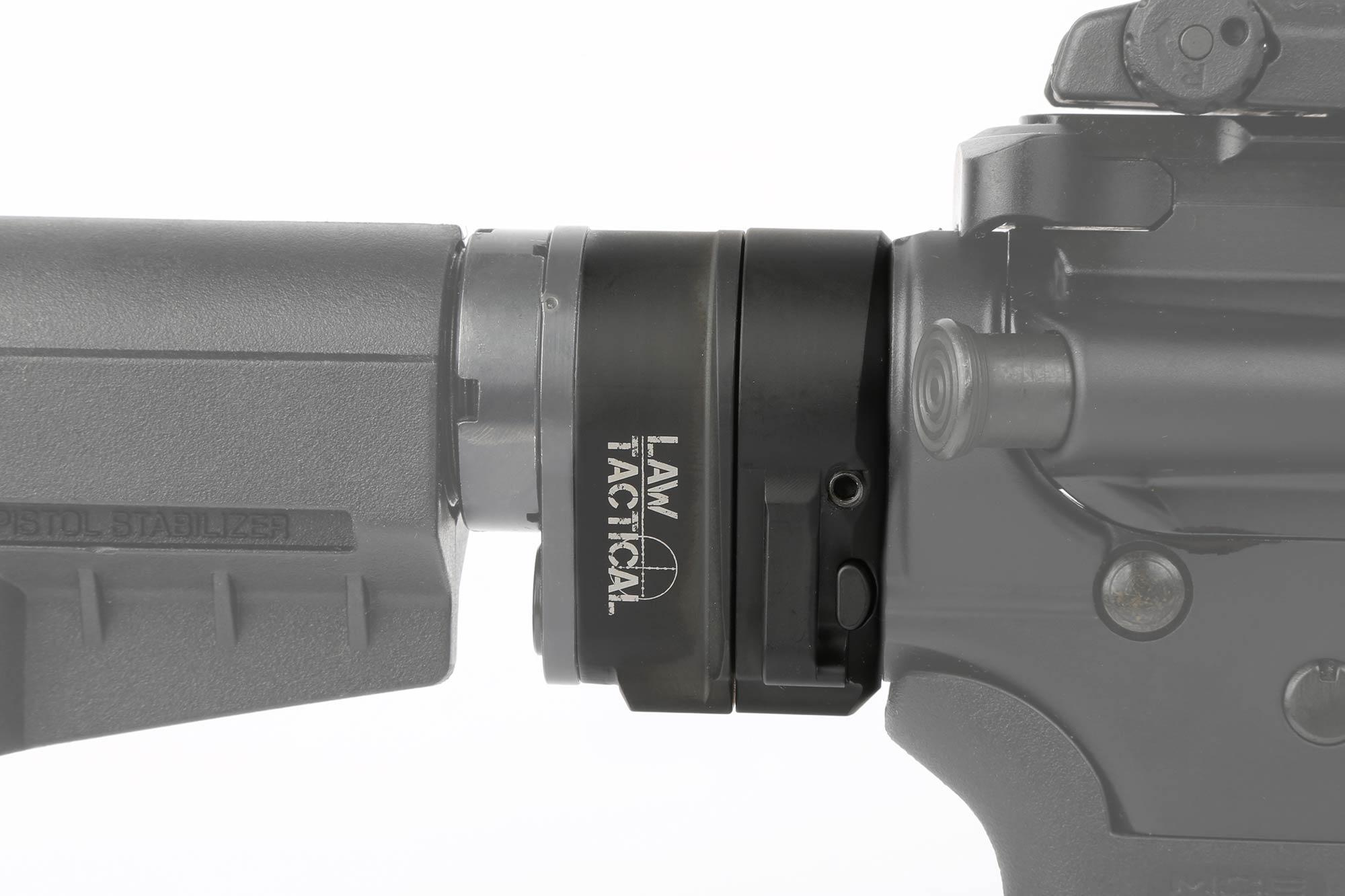 The Law Tactical AR Folding Stock Adapter Gen 3-M for ar-15 and ar308 in the unfolded position with easy to press button