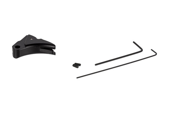 The Lone Wolf Distributors Ultimate adjustable black trigger shoe is made out of 6061 aluminum