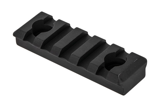 The Timber Creek Outdoors black 5 slot picatinny rail section is designed for M-LOK handguards