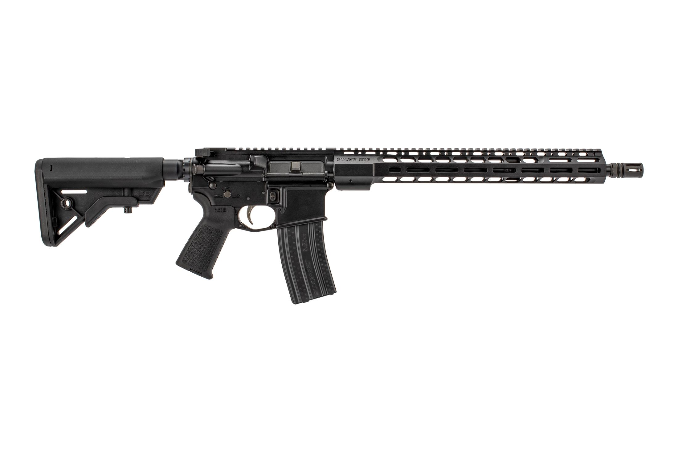 The Sons of Liberty Gun Works M4-76 complete AR15 rifle features a 16 inch barrel and M-LOK handguard
