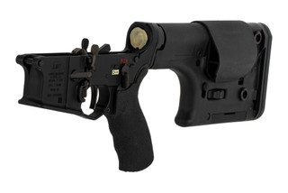 The Lewis Machine and Tool DMR Complete AR15 lower receiver group features a two stage trigger