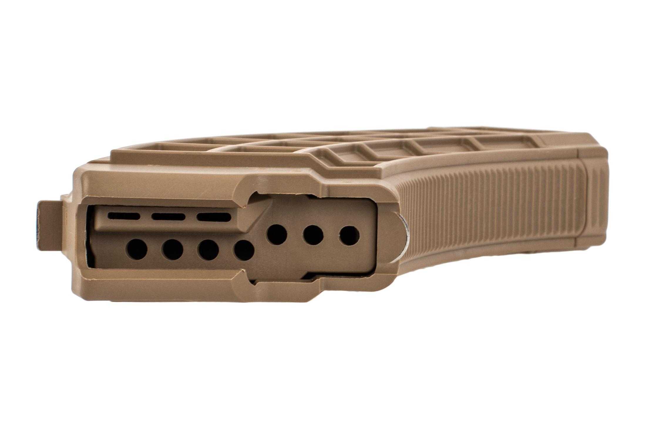 US Palm AK47 polymer magazine FDE features a durable waffle pattern for reinforcment