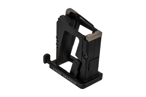 The Stern Defense 9mm AR magazine conversion block features a last round bolt hold open