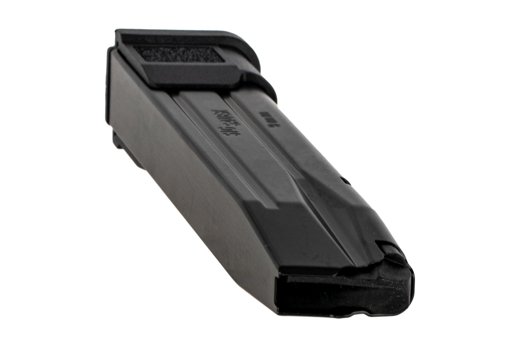 The Sig P250 21 round magazine features a black finish and side witness holes