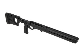 Magpul PRO 700L chassis cane be adjusted for left or right handed bolt throws with a black finish