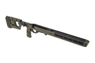 The Magpul Pro 700L Rifle Chassis for Long Action Remington 700 features an OD Green anodized finish
