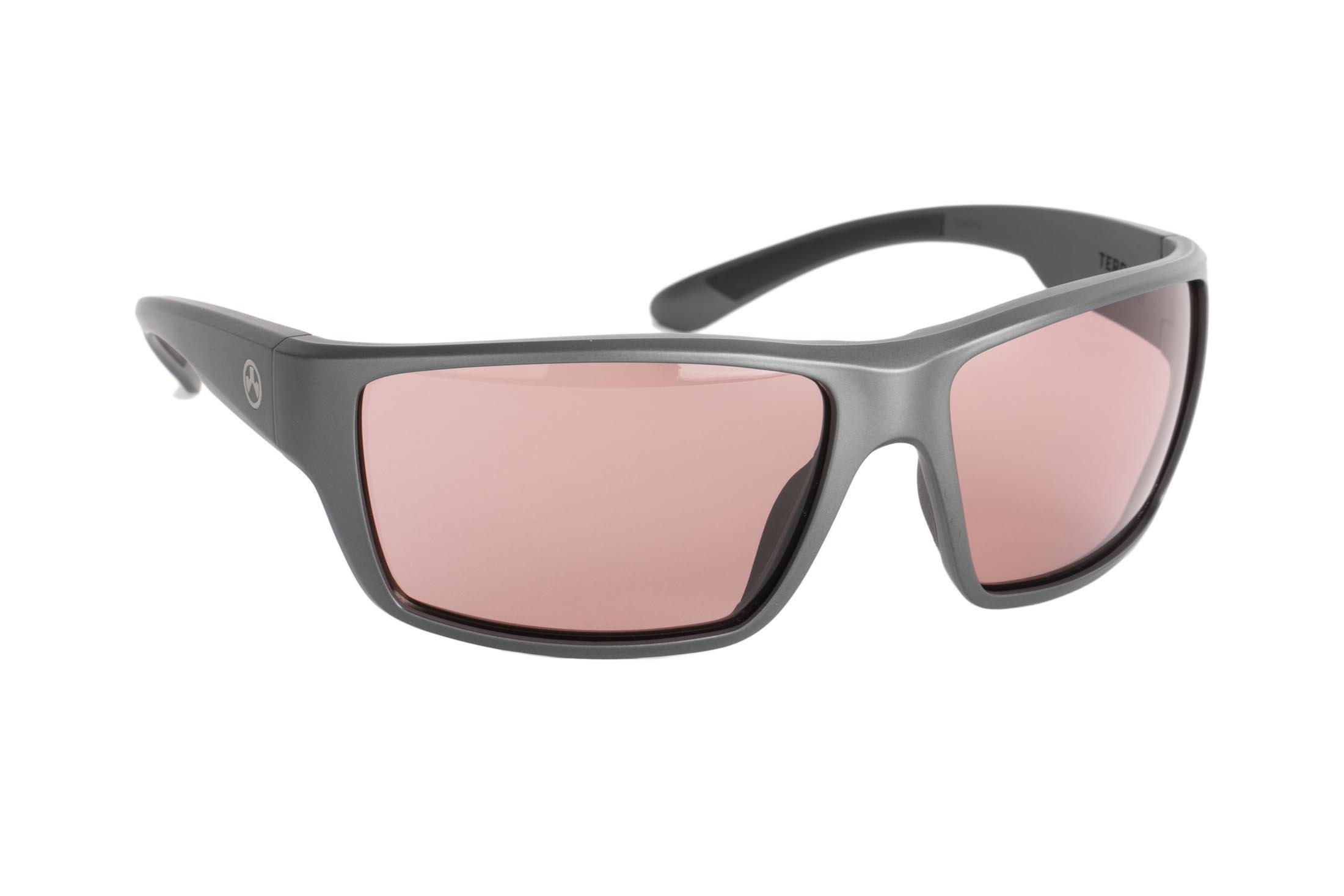 Magpul Terrain ballistic sunglasses with gray frame and rose lenses are ideal for medium-to-large sized shooters