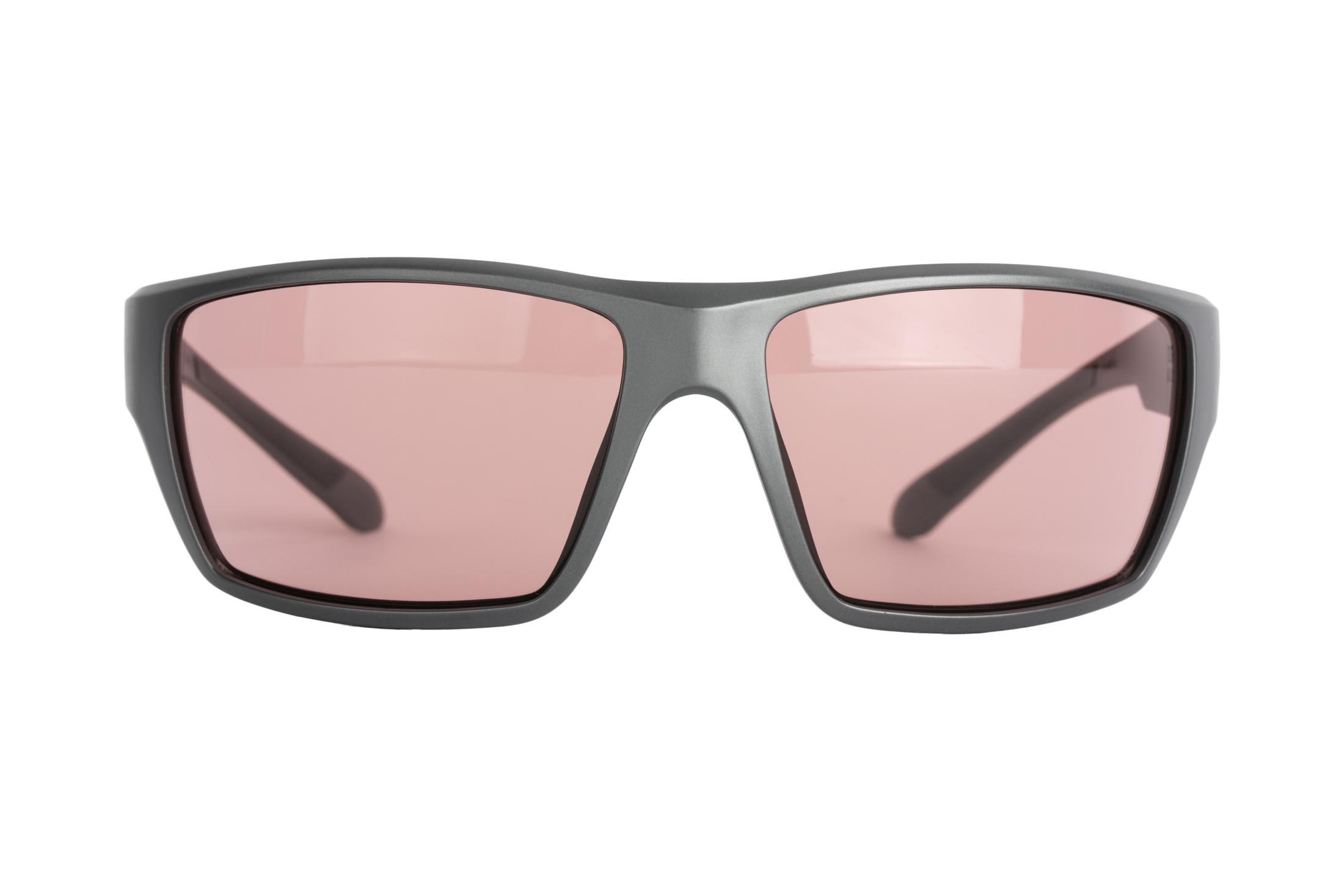 Magpul Terrain safety glasses gray frame and rose lenses are made from TR90ZZ theromplastic for exceptional durability