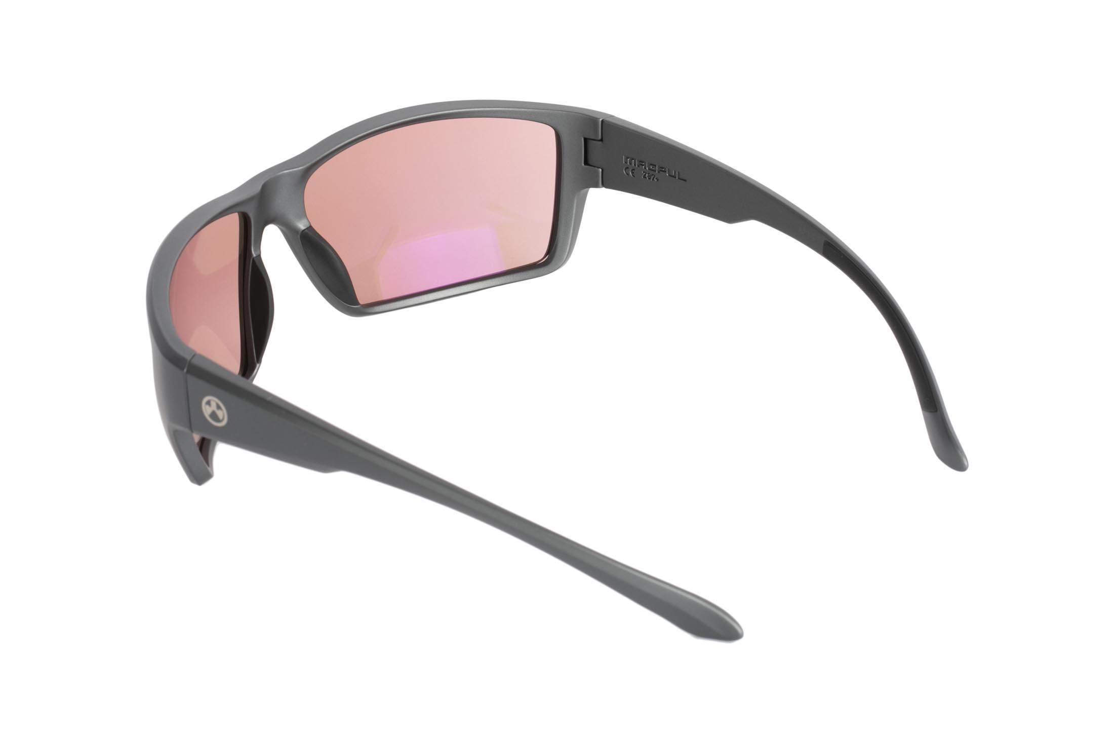 Magpul Terrain gray frame eye protection with rose lenses are designed to complement over-ear hearing protection