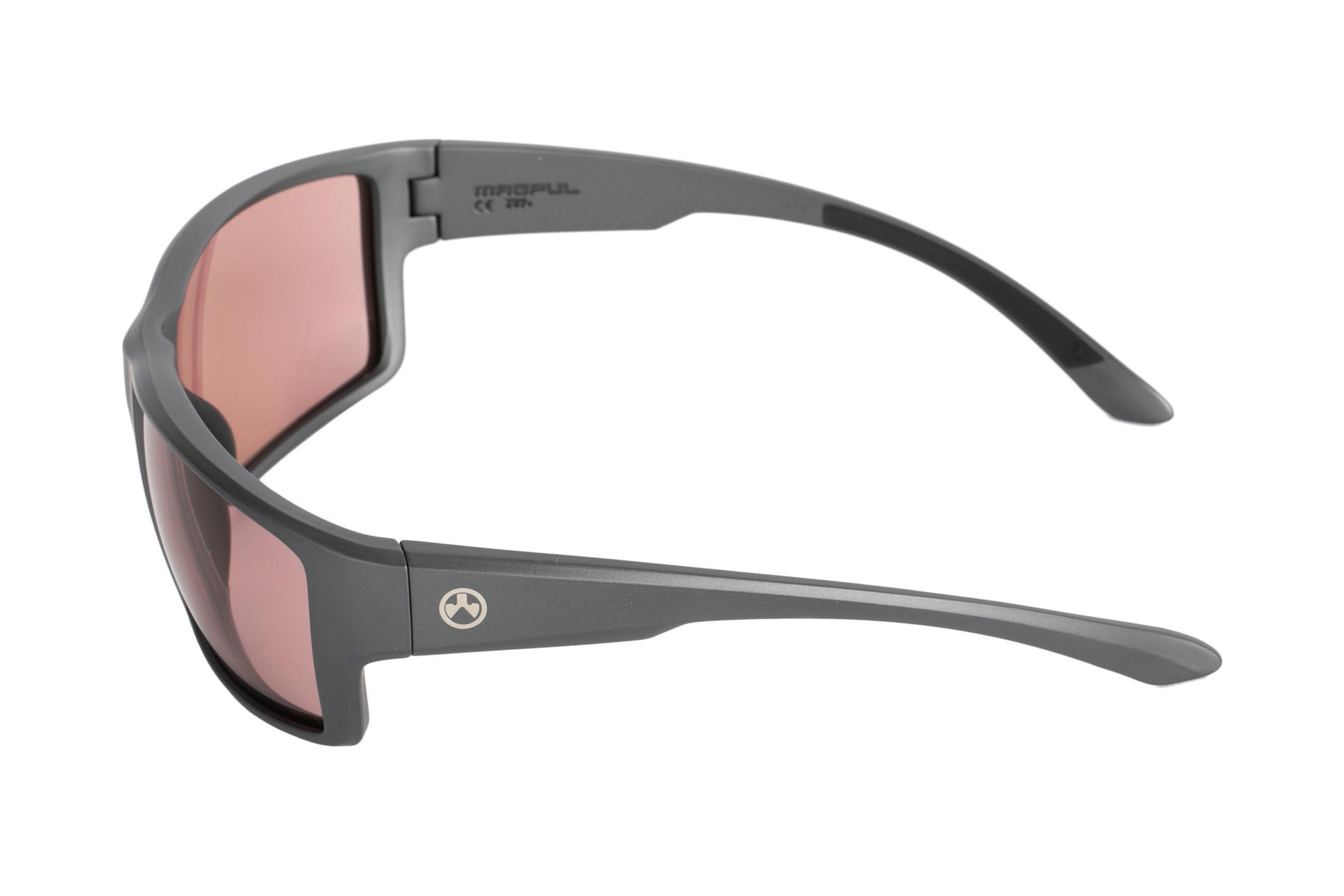 Magpul gray frame Terrain sunglasses with rose lenses are stylish, yet Z87+ and MIL-PRF 32432 ballistic rated