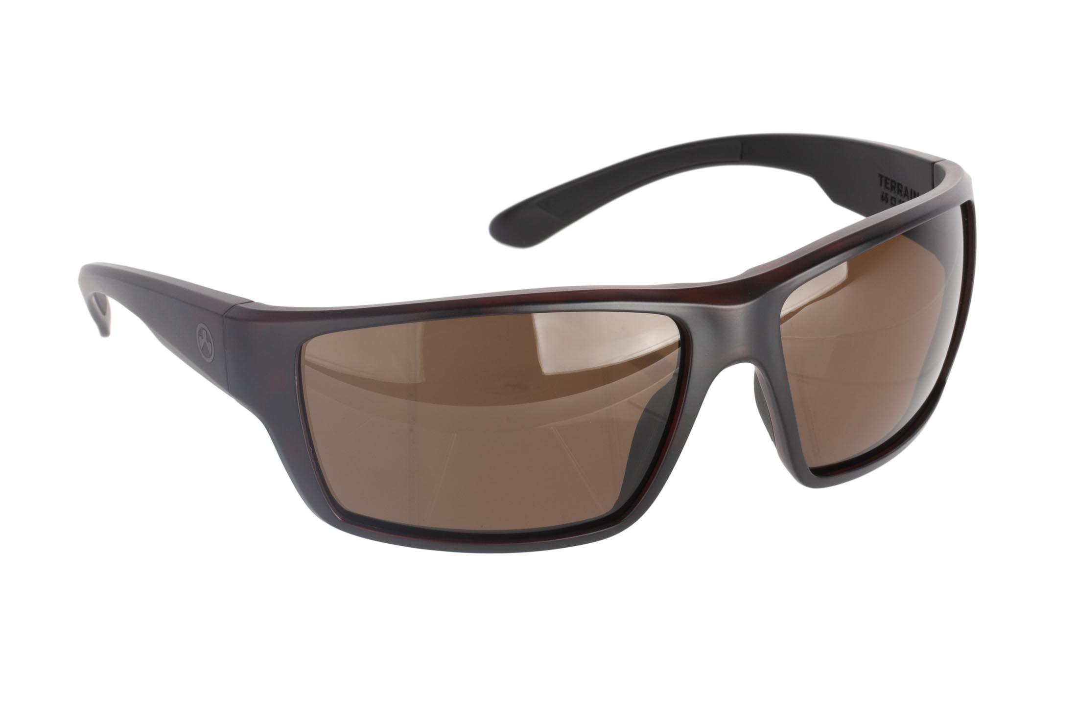 Magpul Terrain ballistic sunglasses with tortoise frame and polarized bronze lenses are ideal for medium-to-large sized shooters