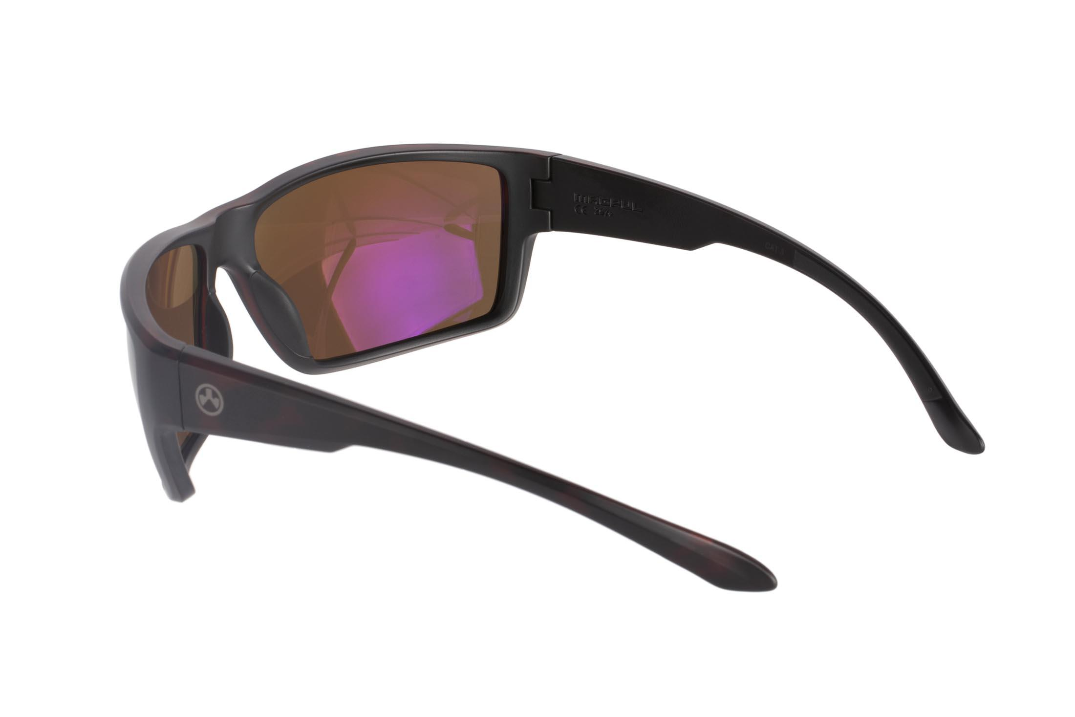 Magpul Terrain tortoise frame eye protection with polarized bronze lenses are designed to complement over-ear hearing protection