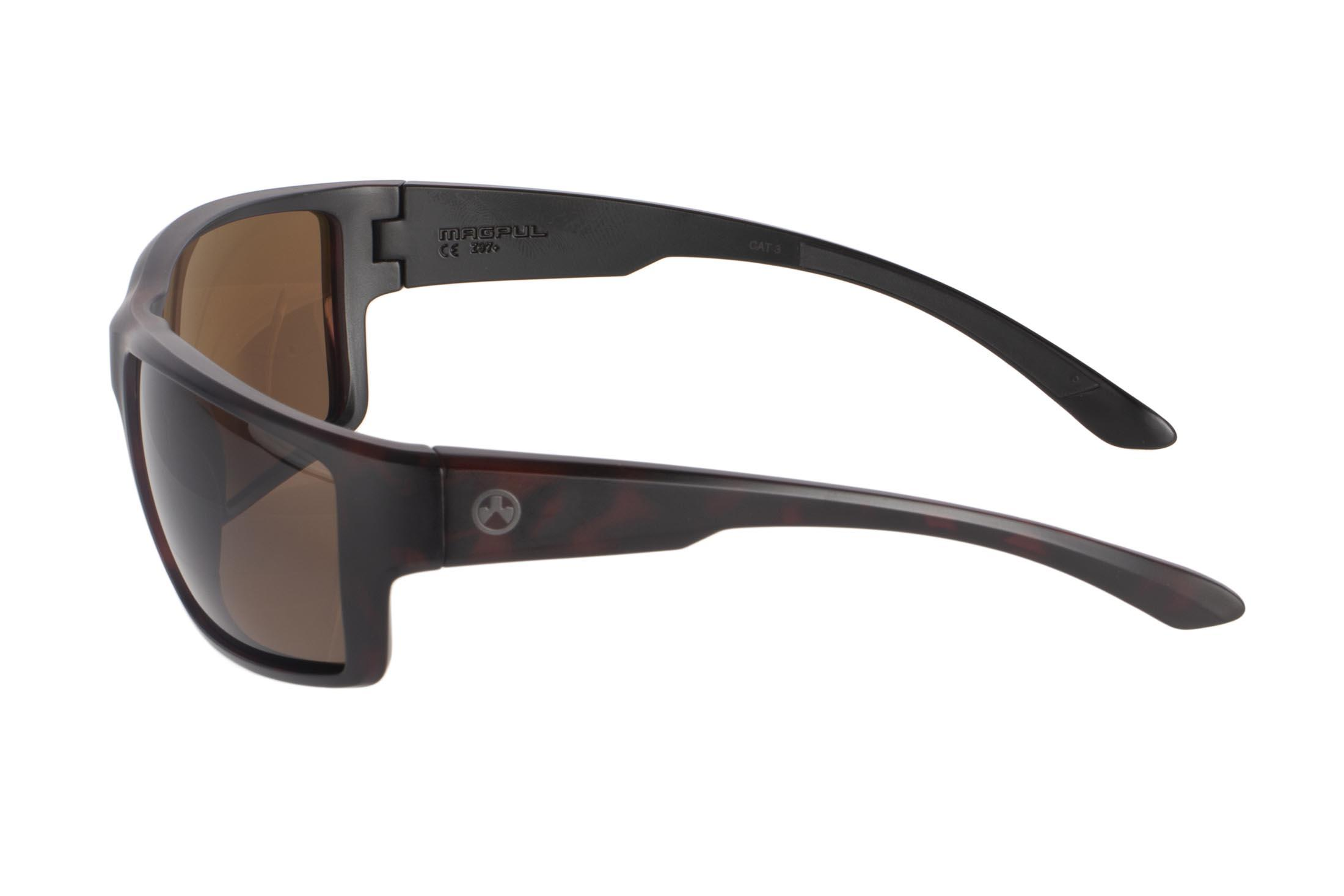 Magpul tortoise frame Terrain polarized sunglasses with bronze lenses are stylish, yet Z87+ and MIL-PRF 32432 ballistic rated