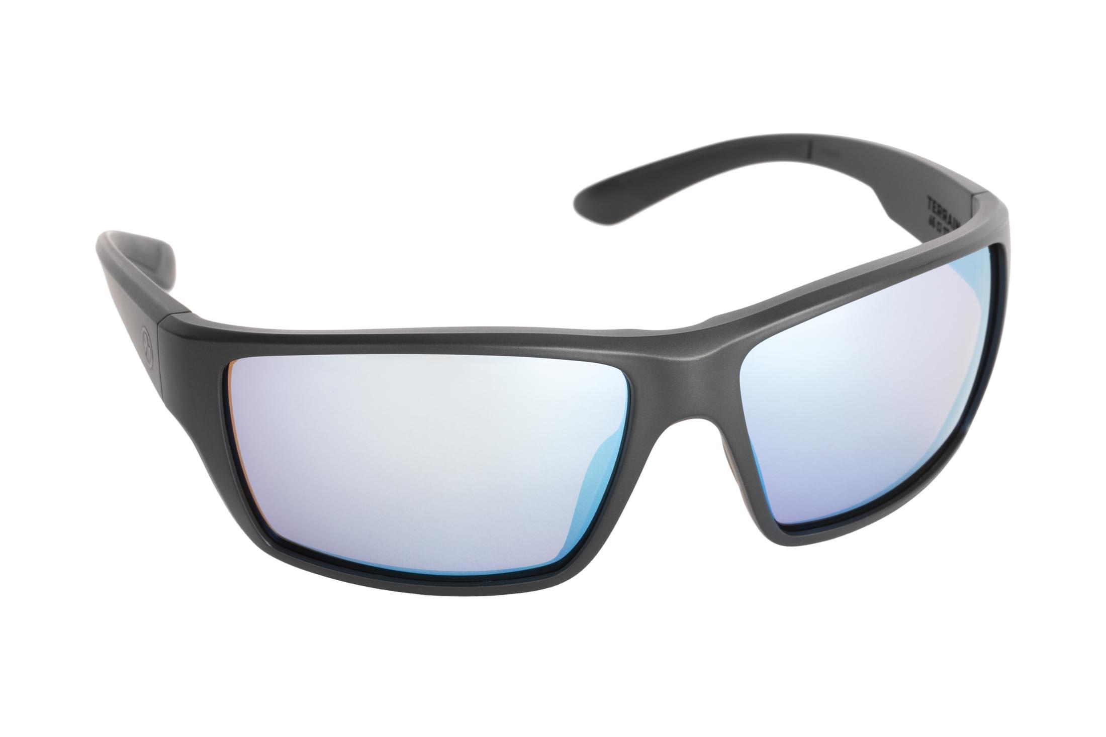 28b3ef092f ... Magpul Terrain ballistic sunglasses with black frame and polarized rose blue  lenses are ideal for ...