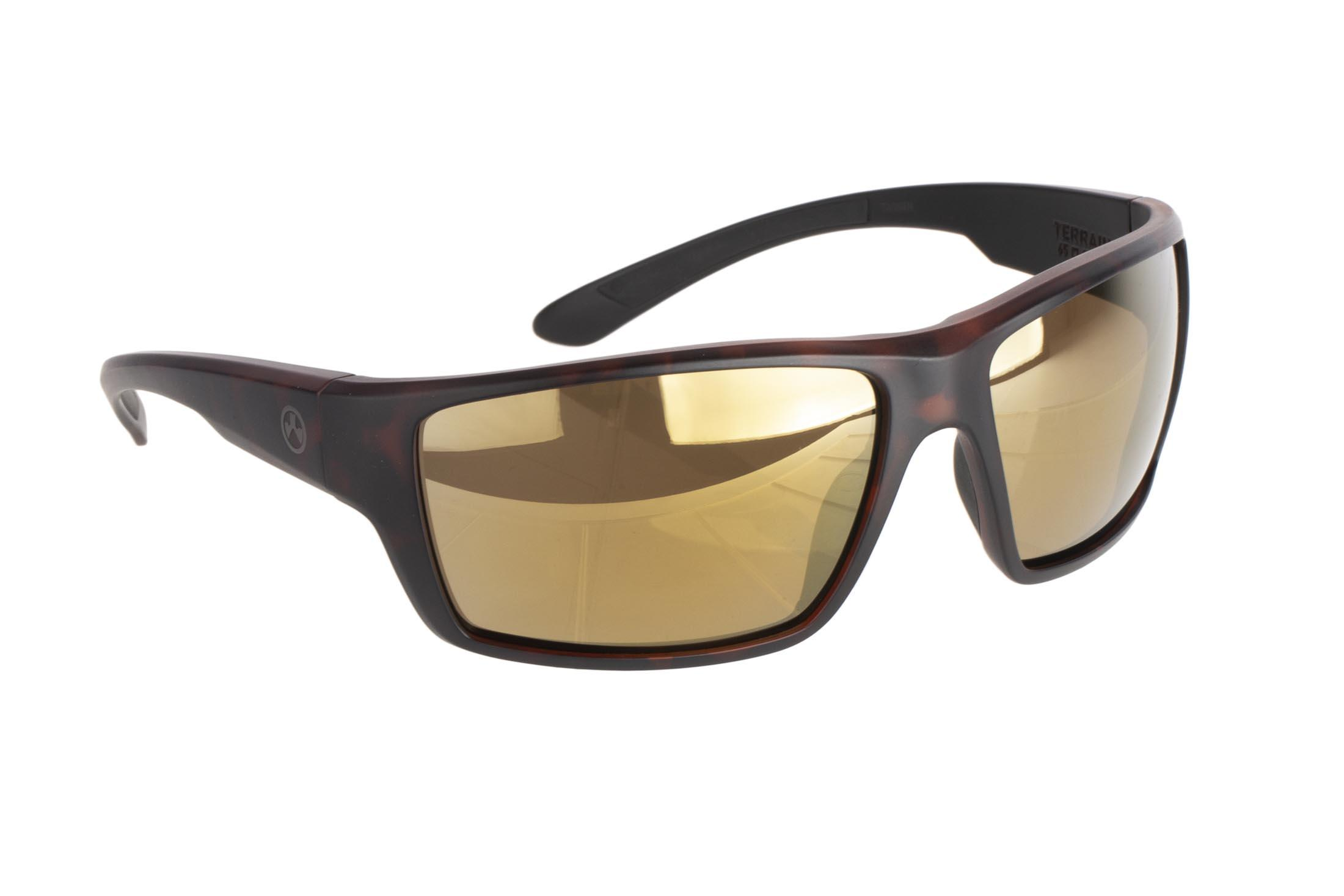 Magpul Terrain ballistic sunglasses with tortoise frame and polarized bronze/gold lenses are ideal for medium-to-large sized shooters
