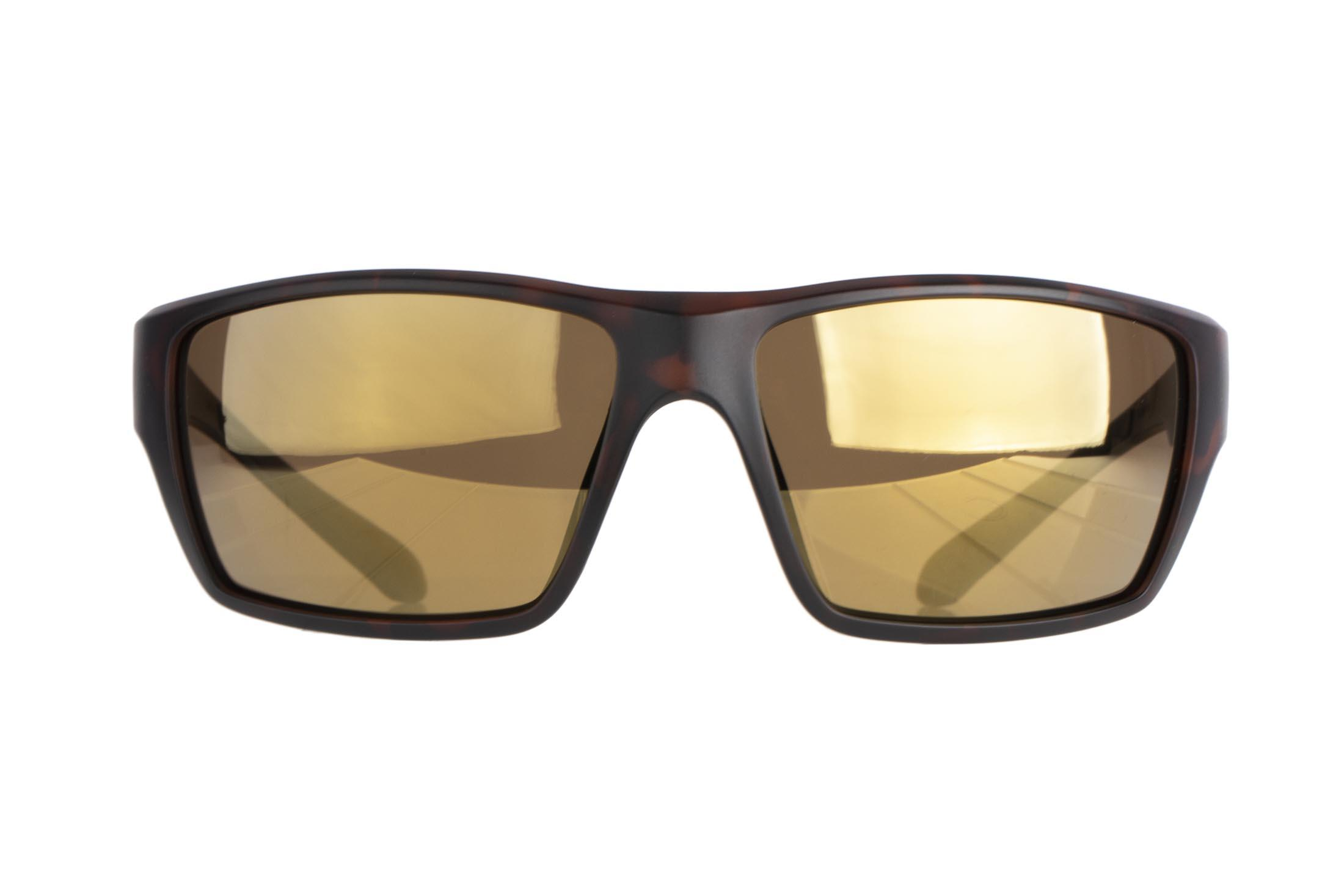 Magpul Terrain safety glasses tortoise frame and bronze/gold polarized lenses are made from TR90ZZ theromplastic for exceptional durability