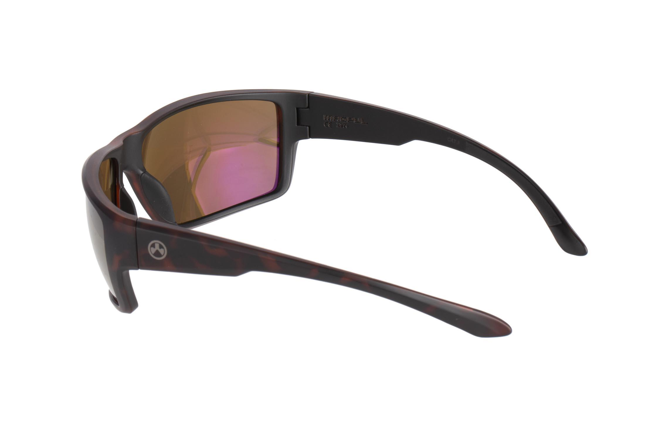Magpul Terrain tortoise frame eye protection with polarized bronze/gold lenses are designed to complement over-ear hearing protection