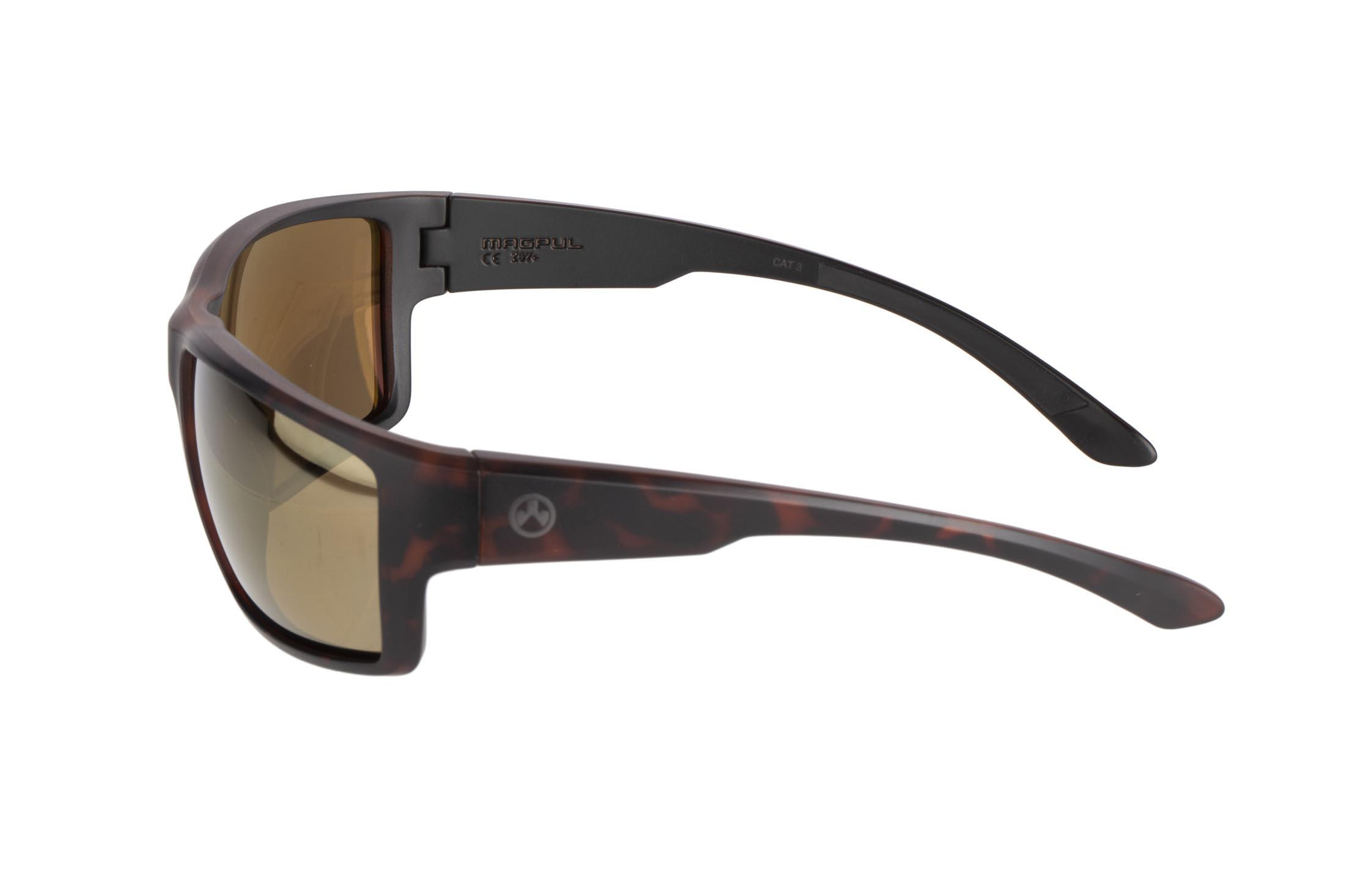 Magpul tortoise frame Terrain polarized sunglasses with bronze/gold lenses are stylish, yet Z87+ and MIL-PRF 32432 ballistic rated