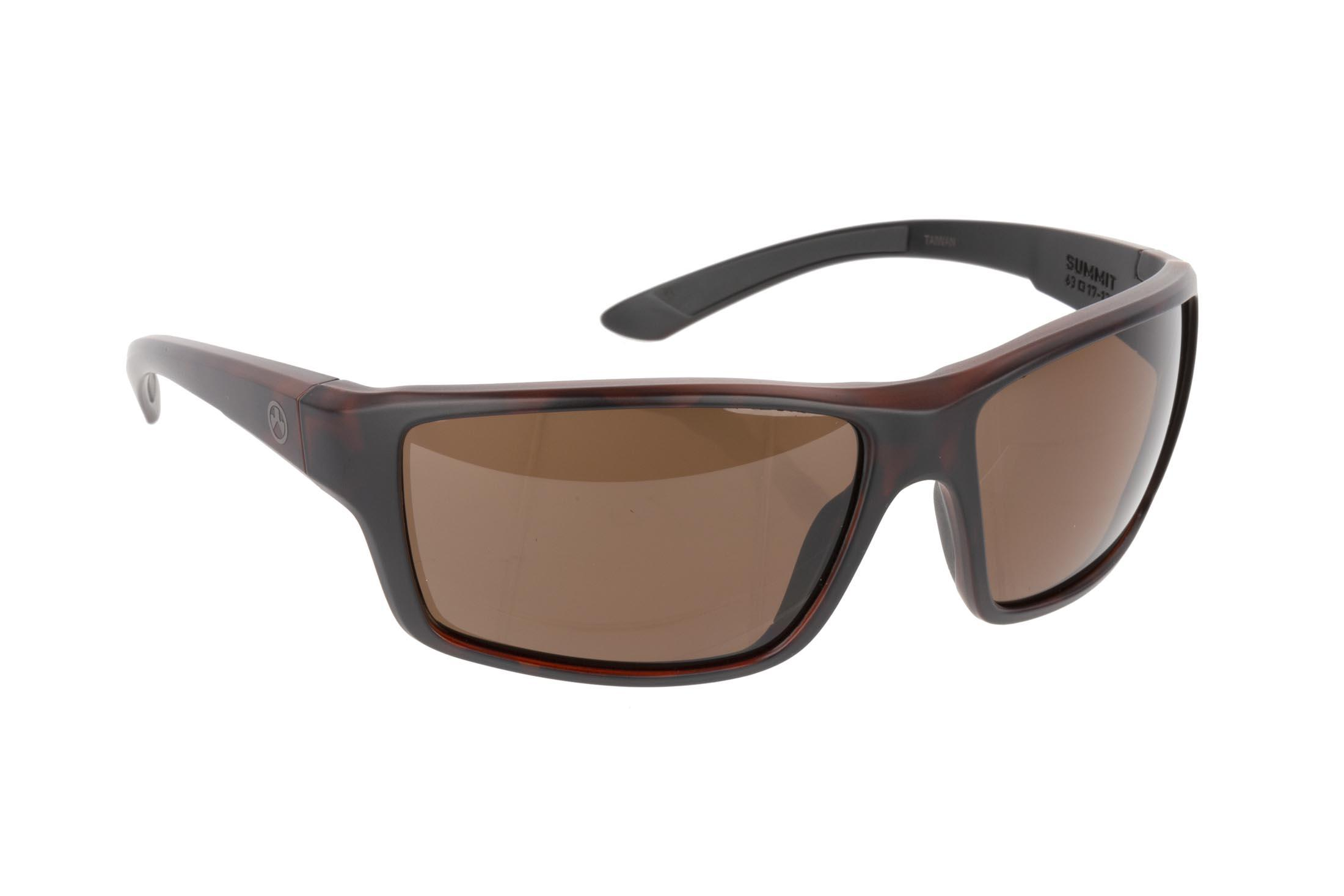 Magpul Summit ballistic sunglasses with gray frame and Bronze polarized lenses are ideal for small-to-medium sized shooters