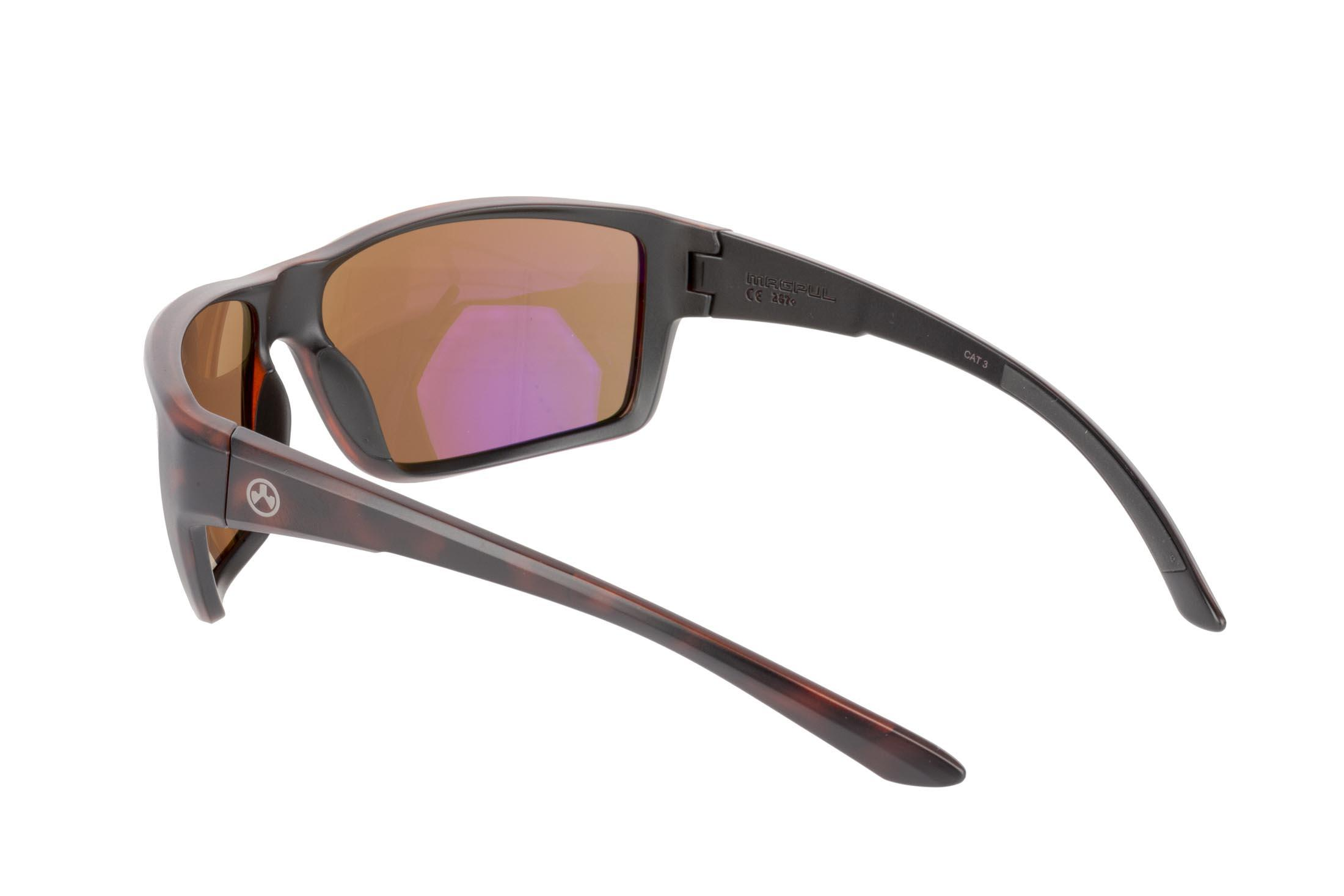 Magpul Summit gray frame eye protection with Bronze lenses are designed to complement over-ear hearing protection
