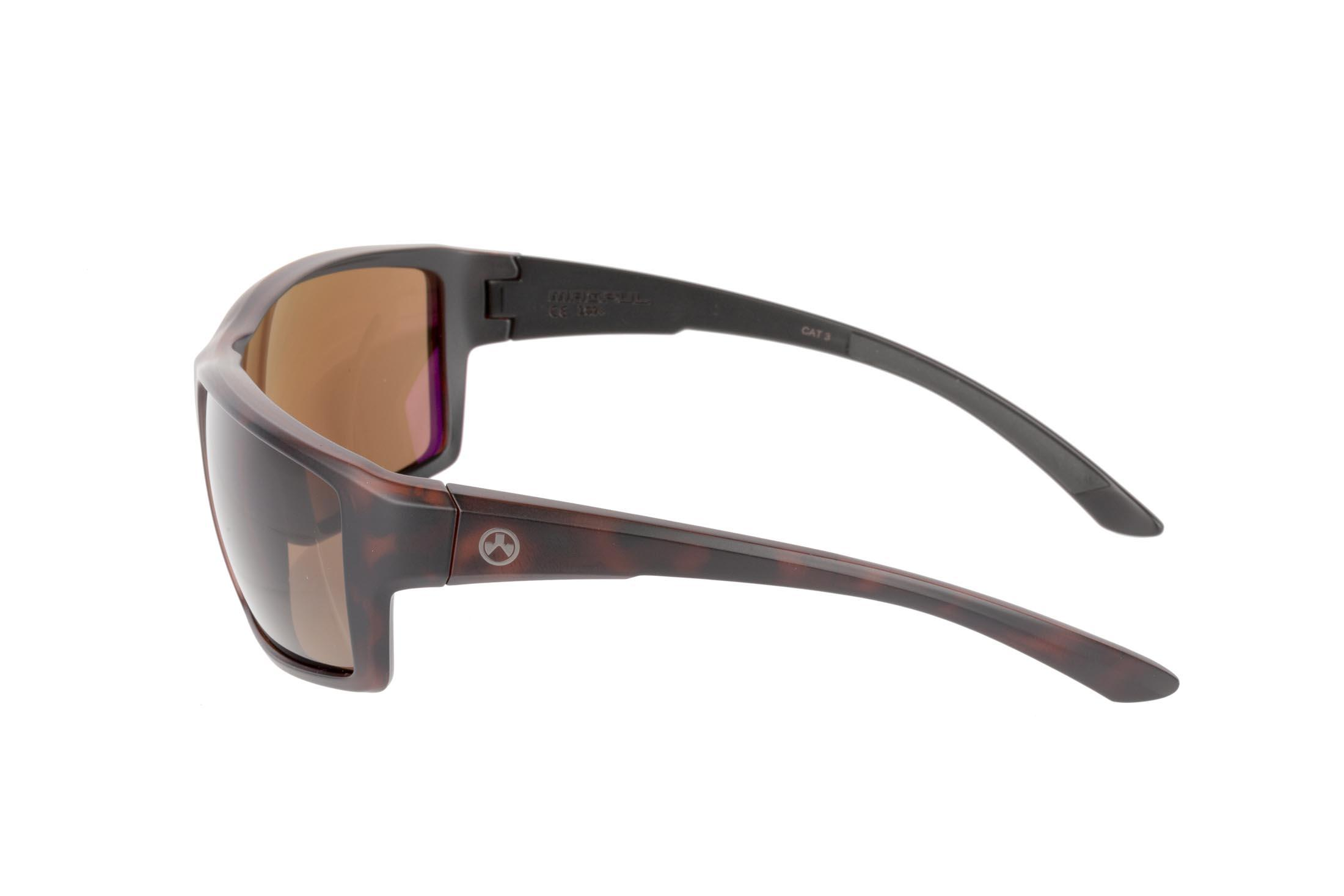 Magpul gray frame Summit sunglasses with Bronze polarized lenses are stylish, yet Z87+ and MIL-PRF 32432 ballistic rated