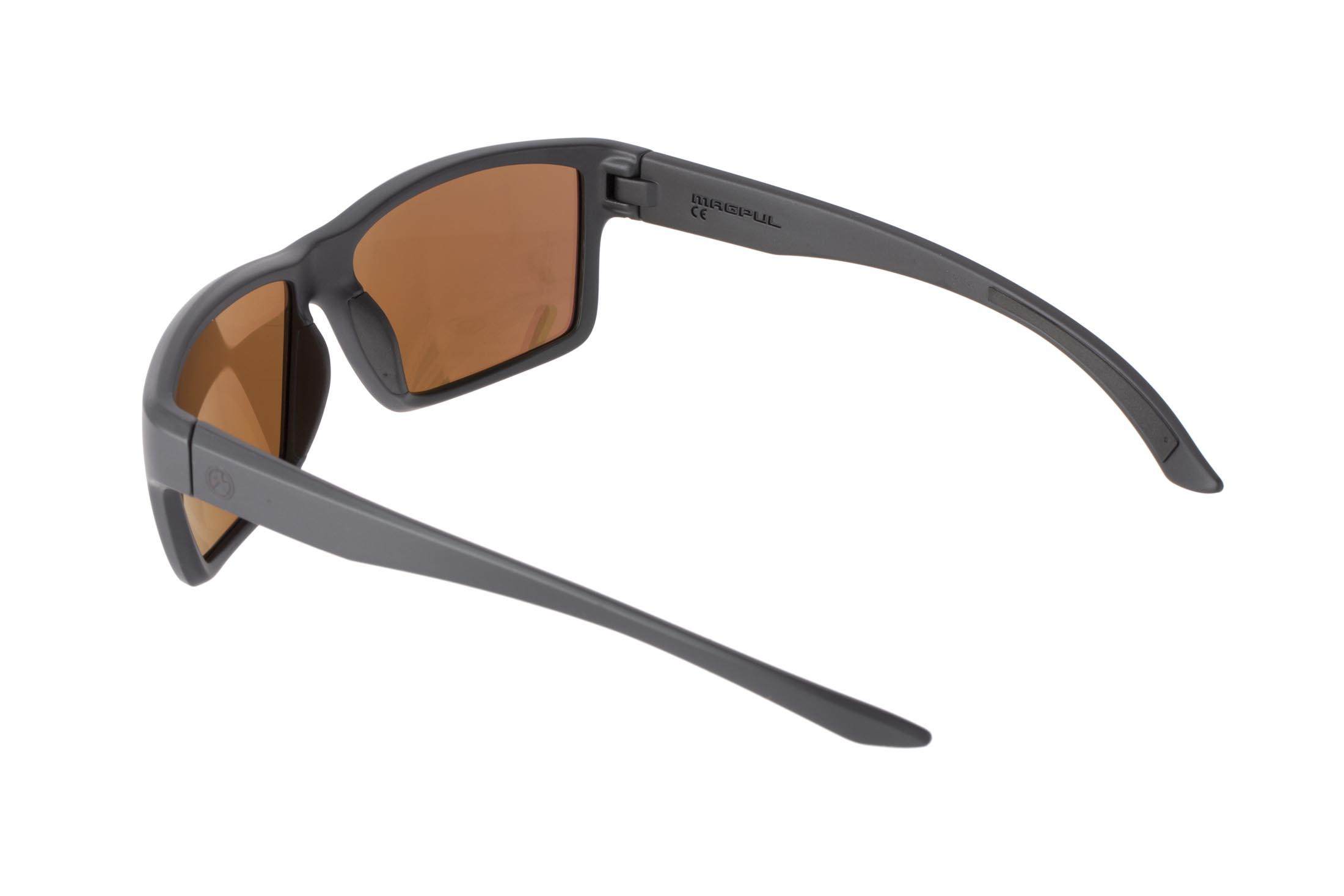 Magpul Summit Black frame eye protection with bronze/blue polarized lenses are designed to complement over-ear hearing protection