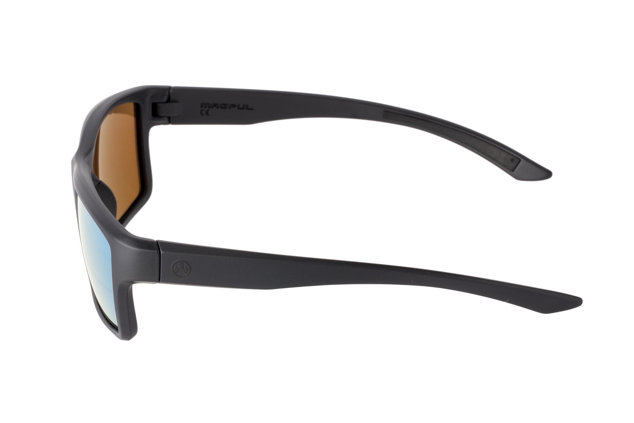 Magpul Black frame Summit sunglasses with bronze/blue polarized lenses are stylish, yet Z87+ and MIL-PRF 32432 ballistic rated