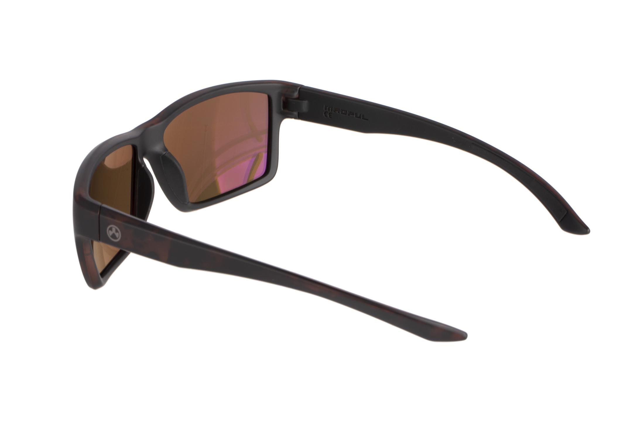 Magpul Explorer tortoise frame eye protection with polarized bronze/gold lenses are designed to complement over-ear hearing protection
