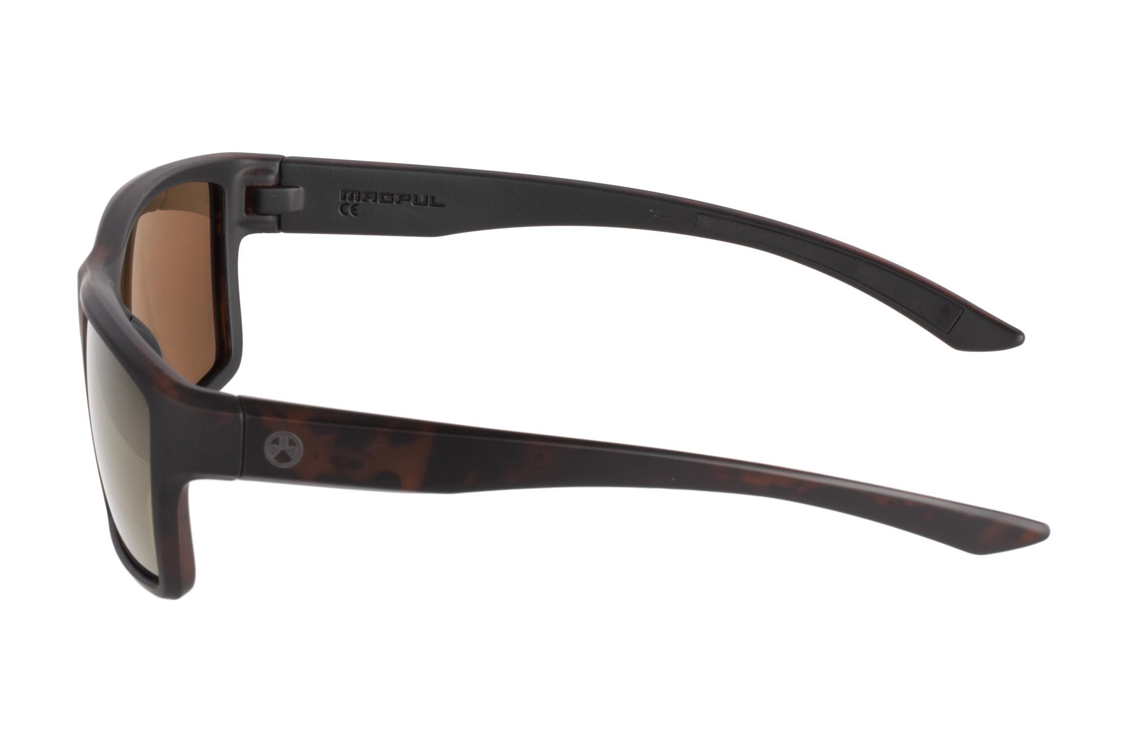 Magpul tortoise frame Explorer polarized sunglasses with bronze/gold lenses are stylish, yet Z87+ and MIL-PRF 32432 ballistic rated