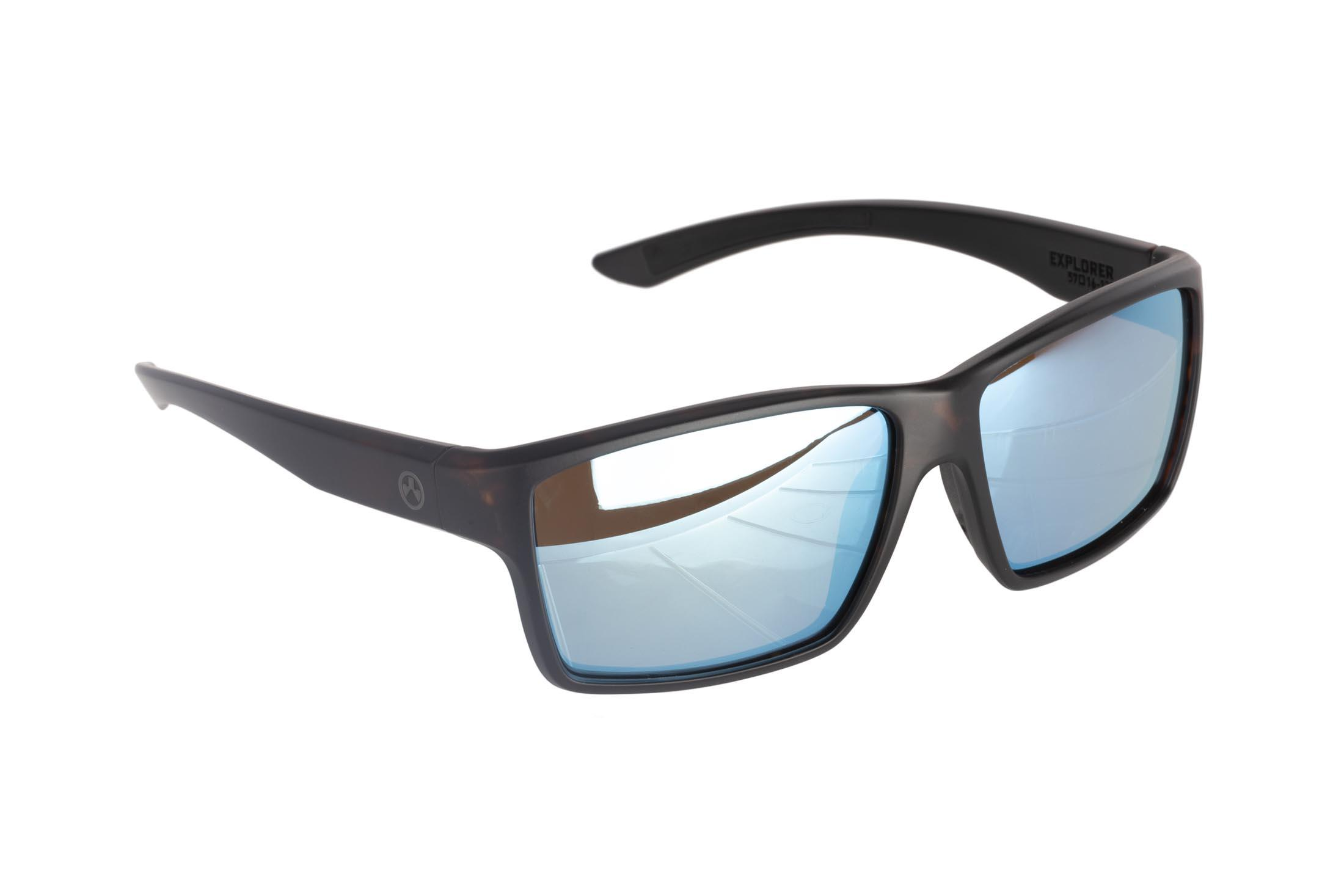 Magpul Explorer ballistic sunglasses with tortoise frame and polarized bronze/blue lenses are ideal for medium-to-large sized shooters