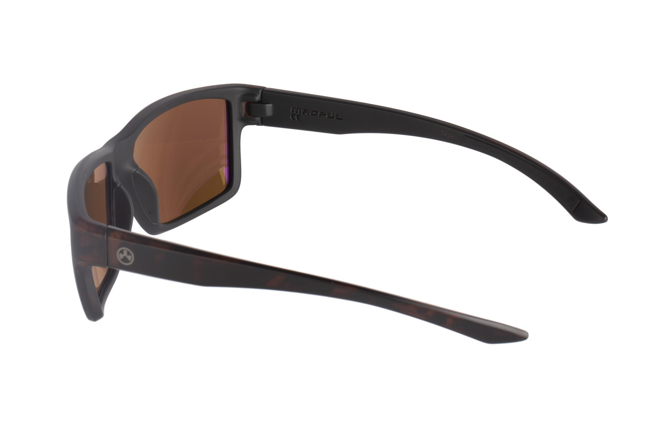 Magpul Explorer tortoise frame eye protection with polarized bronze/blue lenses are designed to complement over-ear hearing protection