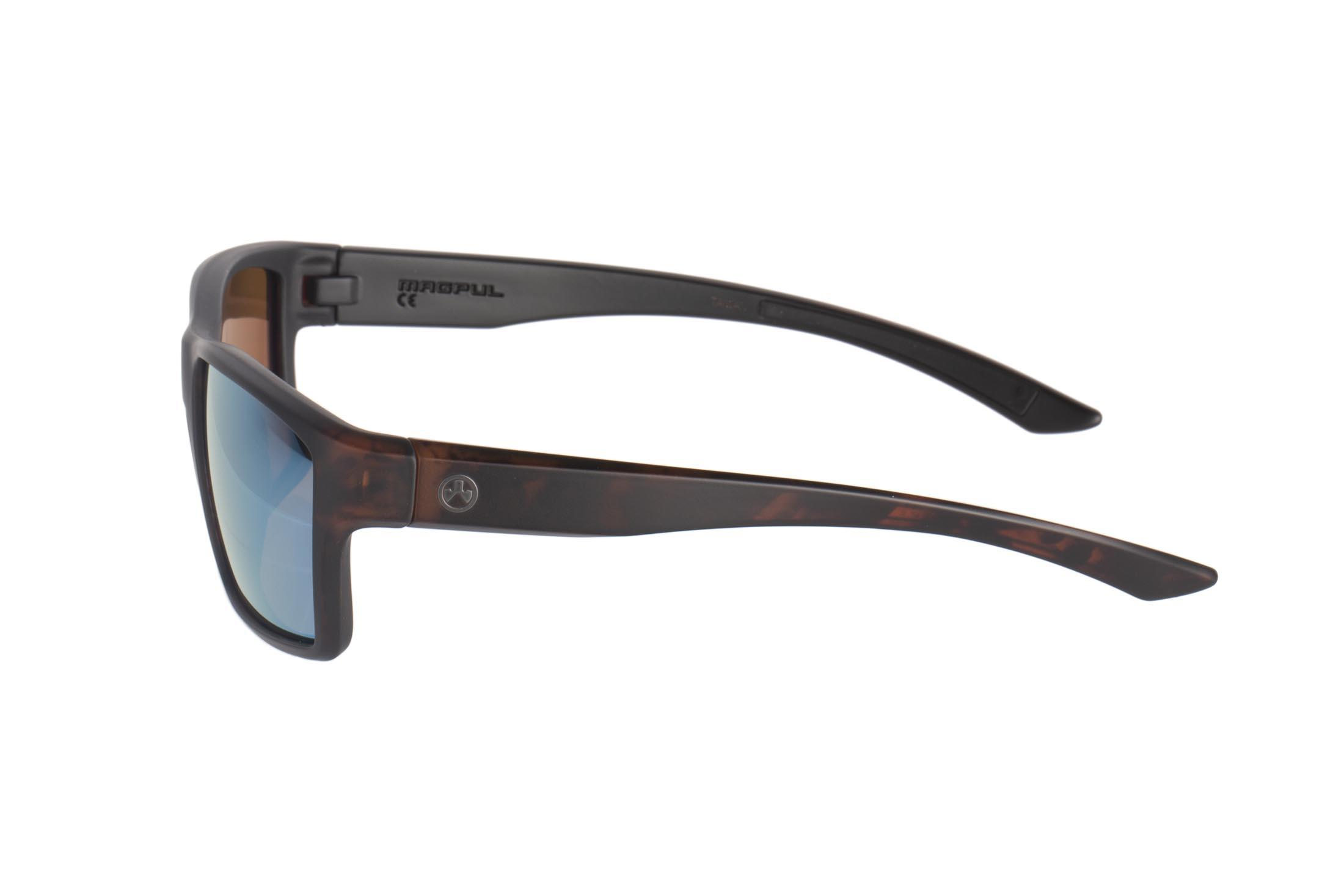 Magpul tortoise frame Explorer polarized sunglasses with bronze/blue lenses are stylish, yet Z87+ and MIL-PRF 32432 ballistic rated