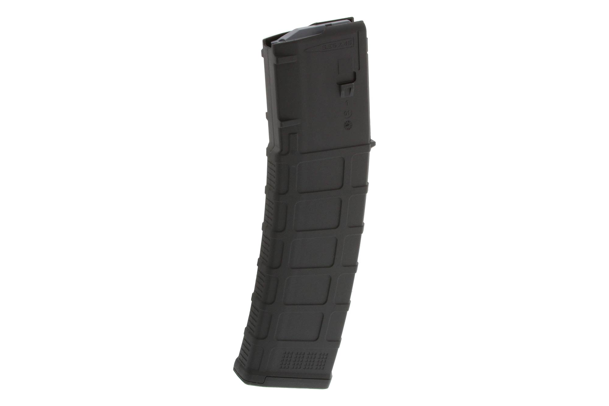 The Magpul PMAG 40 AR/M4 Gen M3 5.56 magazine with black polymer body features a constant curve internal geometry