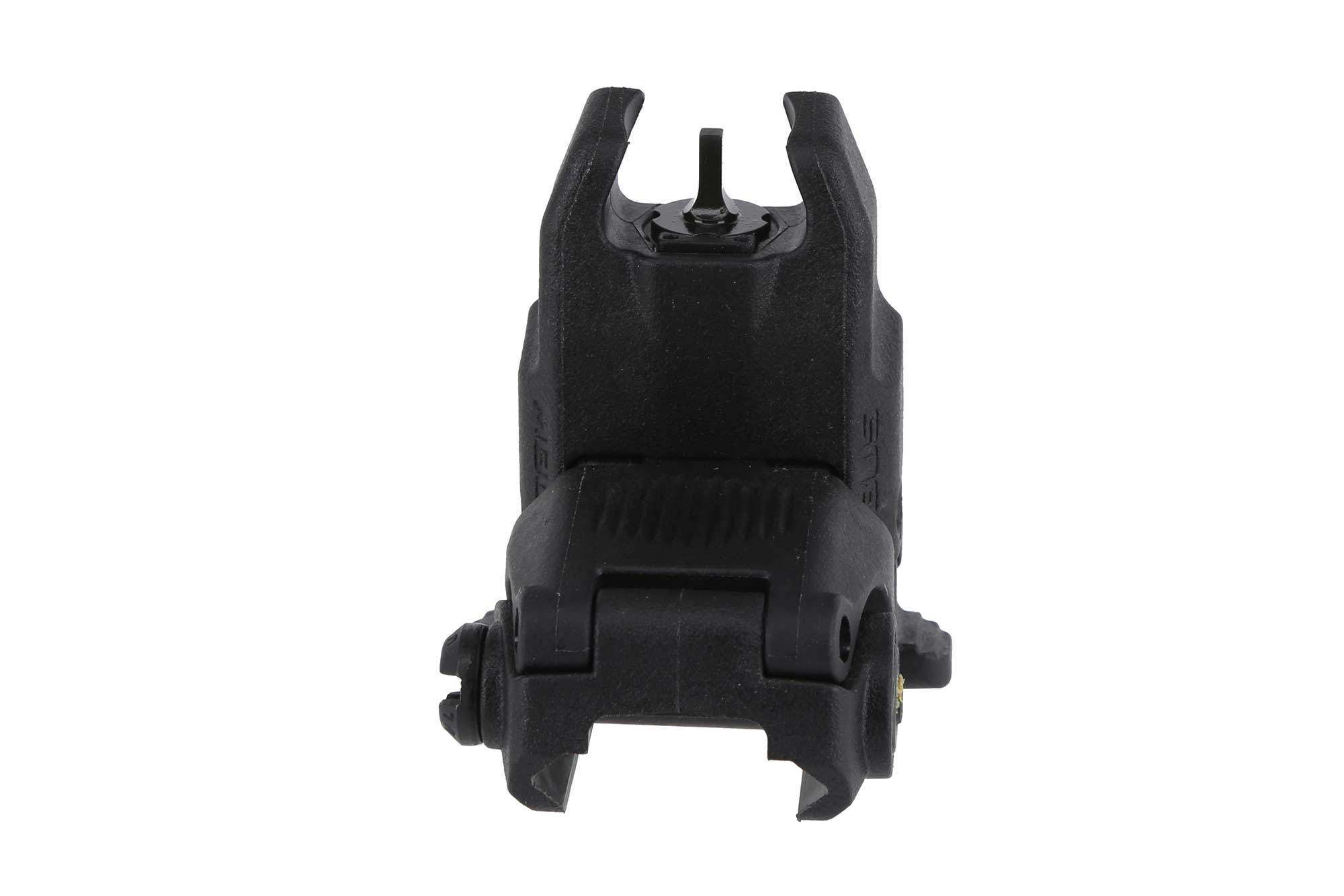 The Magpul Flip up front sight uses a spring and button mechanism for instant deployment