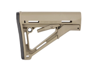 Magpul CTR carbine stock for MIL-SPEC buffer tubes features a wobble-stopping friction lock, multiple sling attachment points, and an FDE finish